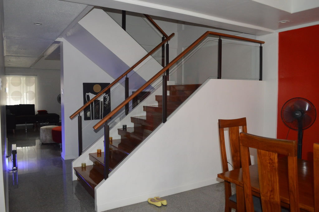 Gl Modern Stair Railing In Wrought Iron Frame