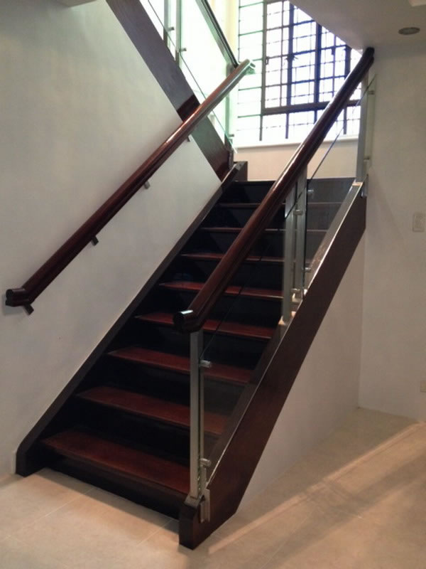 Glass Stair Railing Side Post Mounted
