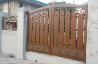 Wrought Iron Gate Wood Finish