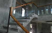 Glass Stair Railing in Metal Frame